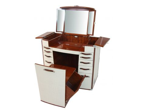 Dressing table white with seat, vanity with mirror - LA DESIRADE