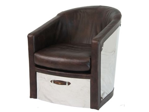 Swivel Easy Chair brown leather - NEW YORK