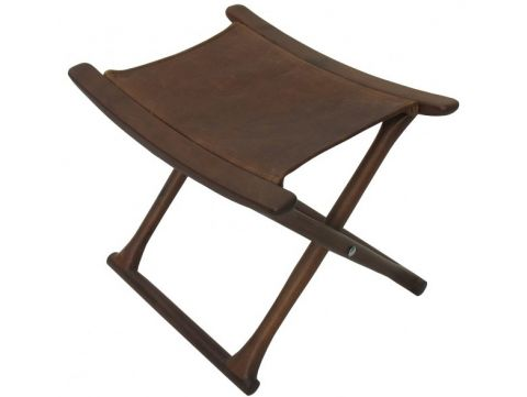 Folding stool, black walnut and leather - MAHE