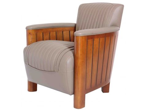 Fauteuil club Cognac - cuir taupe