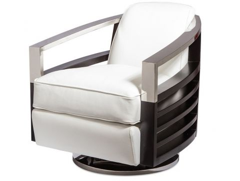 Fauteuil club  pivotant. Cuir blanc - Madison
