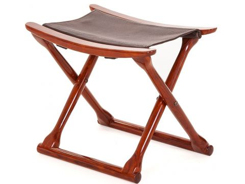 Folding stool Rosewood finish and leather - MAHE