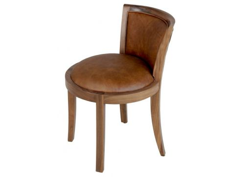 Chair in walnut and brown leather - GRETA