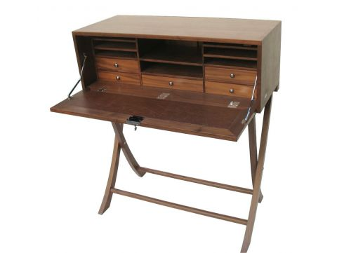 Writing desk in walnut, five drawers - INDOCHINE