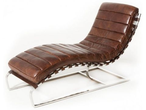 Lounge chair - relax armchair, brown leather  and chromed metal