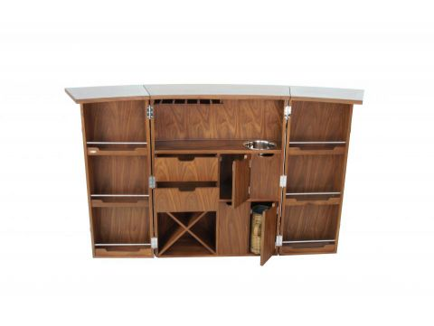 Bar with storages in walnut and brown leather front - MALAWI