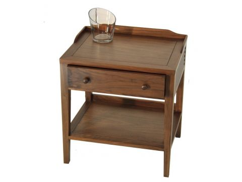 Night stand / Side table in walnut, one drawer - MALDIVES