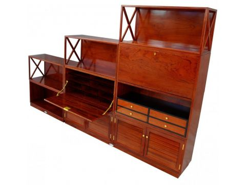 Modular shelves Rosewood finish, twelve items - SEYCHELLES