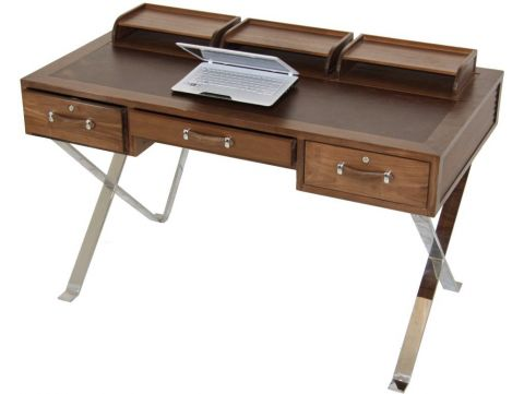 Desk in walnut and leather, with inox base - NEW YORK