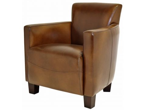 Nogent sporty armchair - Brown vintage leather