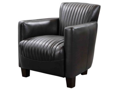 Nogent sporty armchair - Black leather