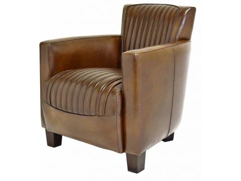 Nogent sporty armchair - Brown leather