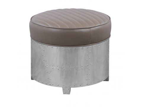 Round footstools taupe leather- DC3