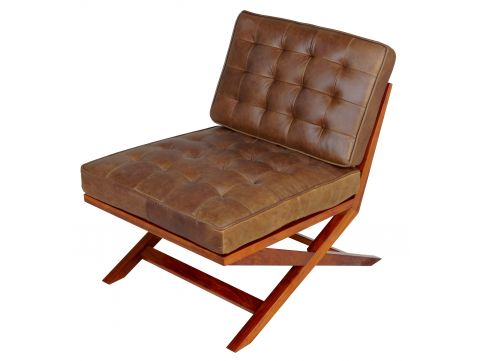 Easy Chair Rosewood finish and leather - BRODWAY