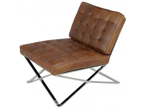 Easy Chair Chrome and brown leather  - MANATHAN