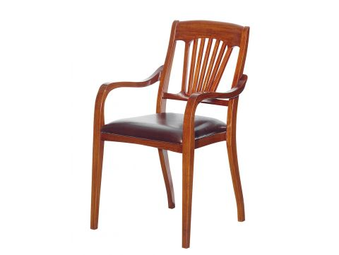 Dining armchair wood and leather - TRINIDAD