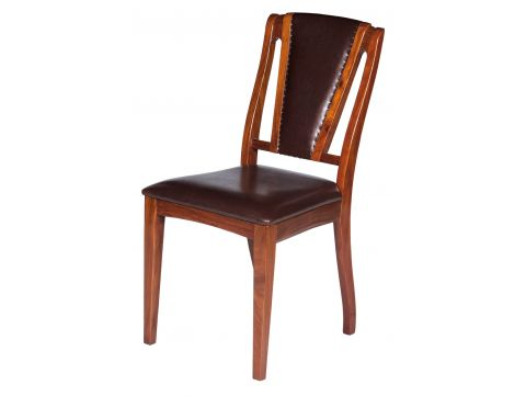 Dining chair Rosewood finish and leather - BRIGHTON