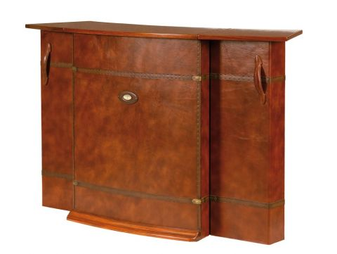 Bar with storages Rosewood finish and brown leather front - MALAWI