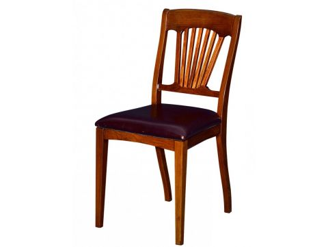 Dining Chair wood and leather - TRINIDAD