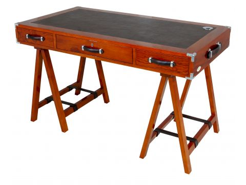 Explorer desk.  Wood, leather and chrome - DUGUAY TROUIN