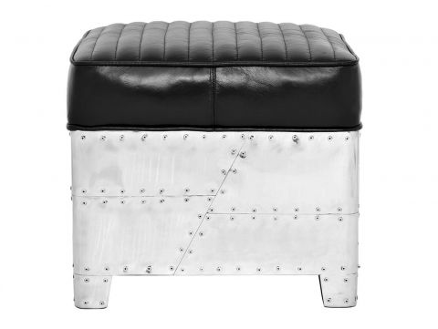 Square footstools black leather- DC3