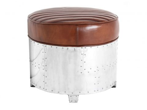Round footstools brown leather- DC3
