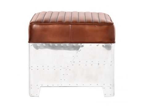 Square footstools marron leather- DC3
