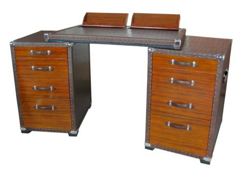 Desk with storages and drawers, wood and black faux-croc canvas - MONTENEGRO
