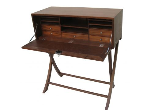 Writing desk seven drawers, walnut - INDOCHINE