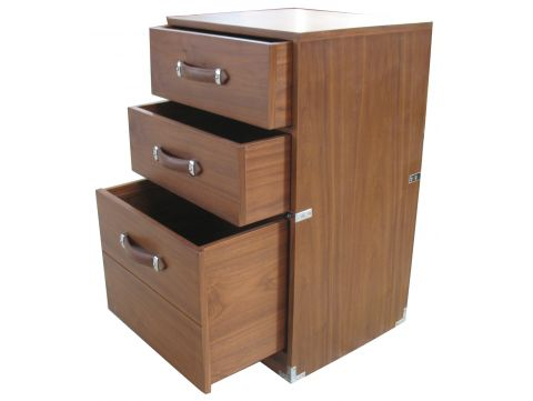 File cabinet three drawers, black walnut - DUPLEIX