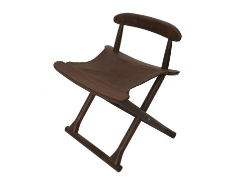 Folding chair, walnut and leather - BERMUDES