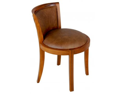 Chair black walnut finishing and brown leather - GRETA