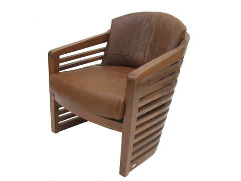 Armchair in walnut and brown leather- NEW YORK