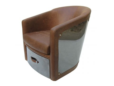 Swivel Easy Chair brown leather, one drawer - NEW YORK