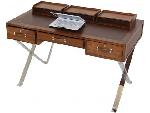 Desk in black walnut, leather and inox - NEW YORK