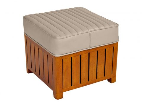 Canoë -  Square footstools beige leather.