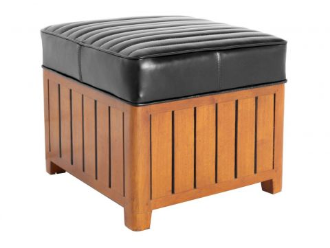 Canoë -  Square footstools black leather.