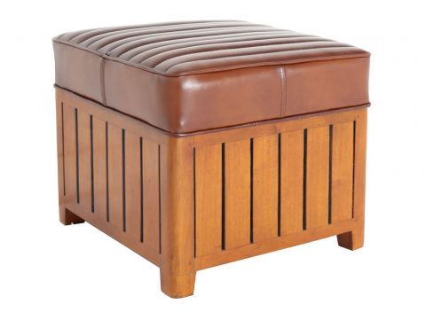 Canoë -  Square footstools brown leather.