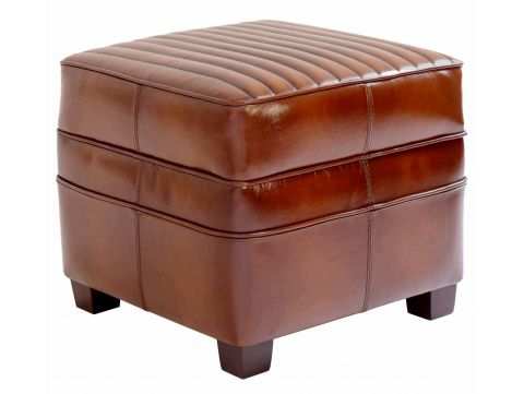 Square footstools - Brown leather- Barquette sport