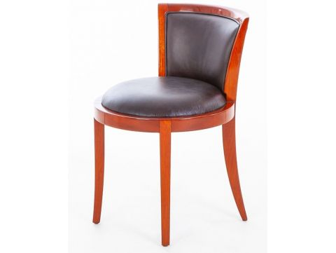 Chair Rosewood finishing and brown leather - GRETA