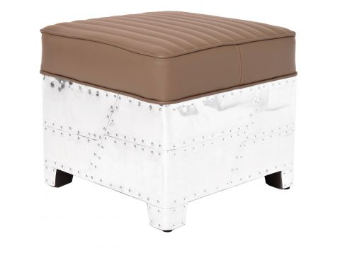 Square footstools taupe leather- DC3