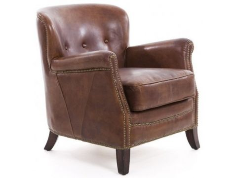 Brown leather club chair - HEMINGWAY