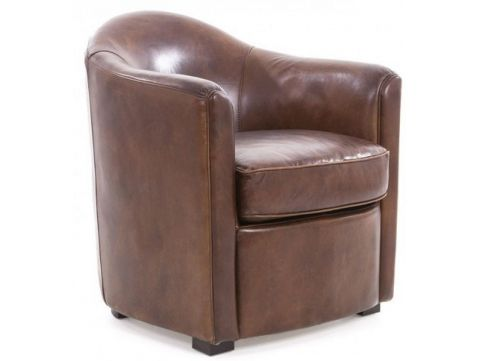 Brown leather armchair - DUMAS