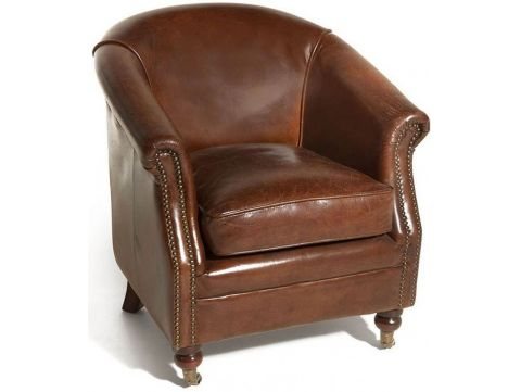Brown cigar leather club armchair - HUGO