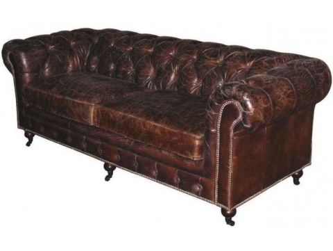 Canapé Chesterfield vintage marron cigare - 3 places