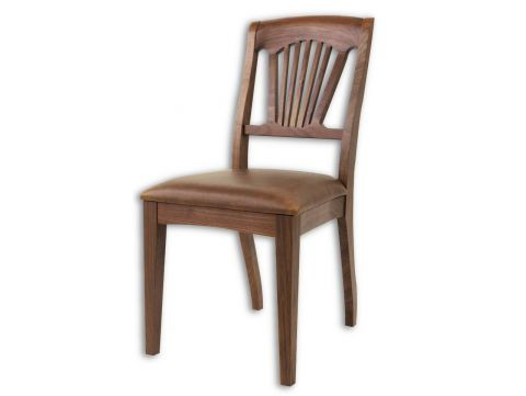 Dining Chair in walnut and brown leather - TRINIDAD