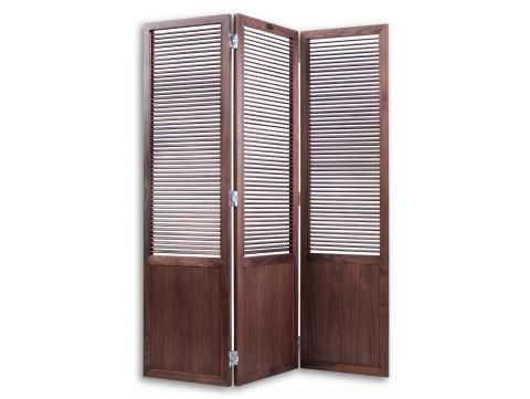 Panel screen with working louvers, walnut - GOA