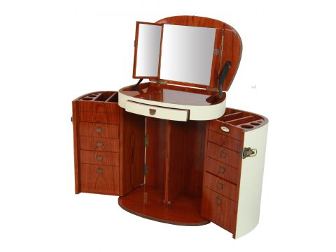 Makeup Trunk / Dressing table with mirror, Ivory - MARIE GALANTE