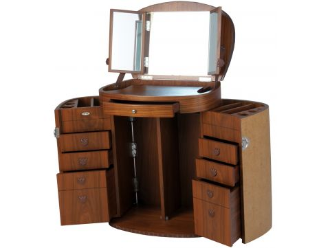 Vanity / dressing table with mirror. walnut , ash leather - MARIE GALANTE