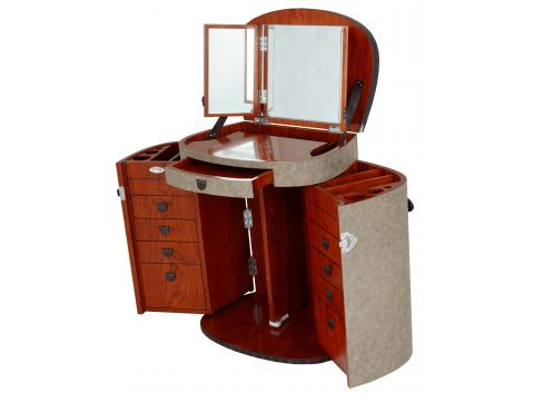 Ash leaher dressing table with mirror - MARIE GALANTE